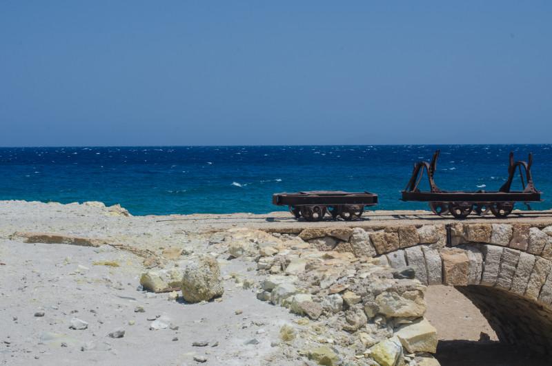 Old sulfur mines at Thiafes beach