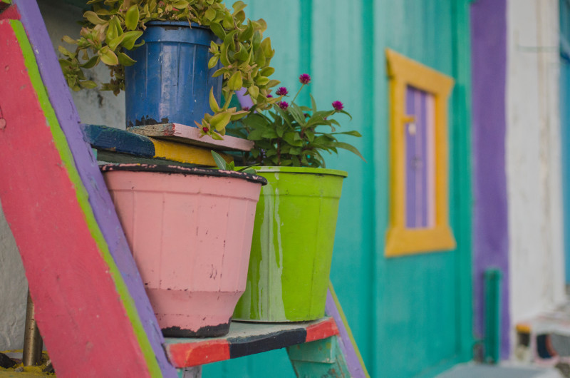 Colorful pots in Klima