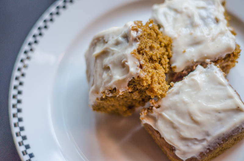 Healthy Pumpkin Squares with Cream Cheese Frosting