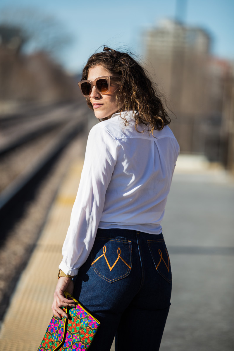 White Blouse on Denim