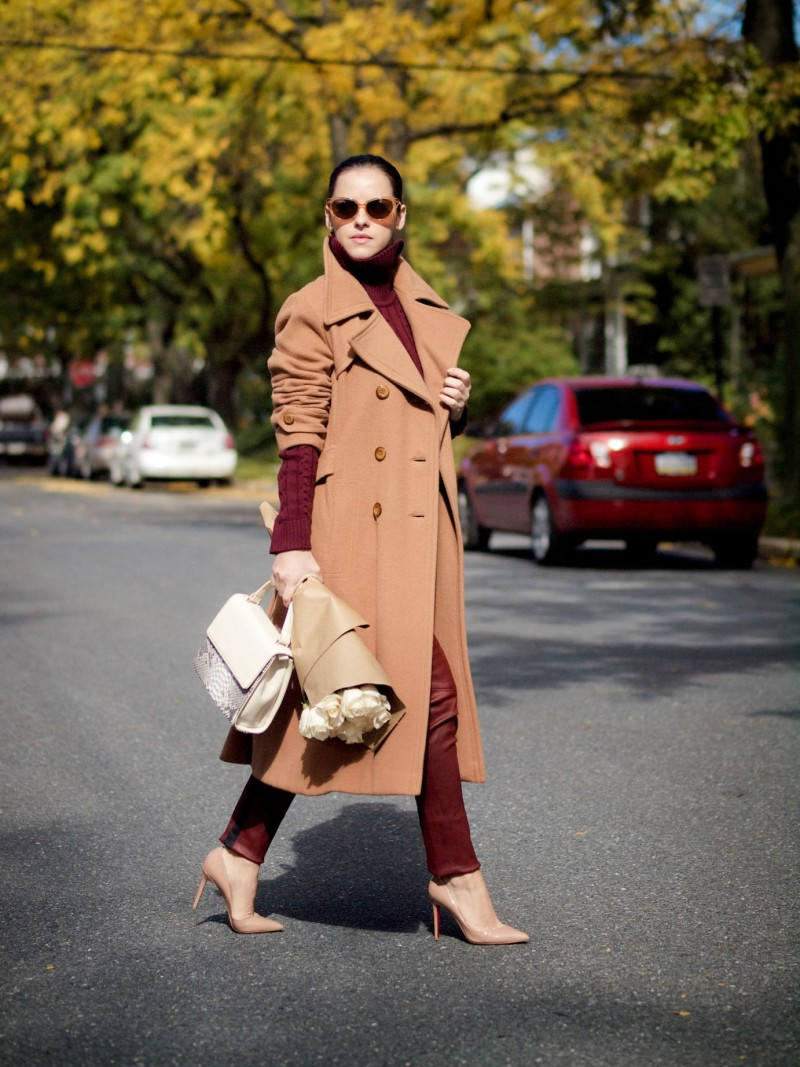 camel coat with burgundy outfit