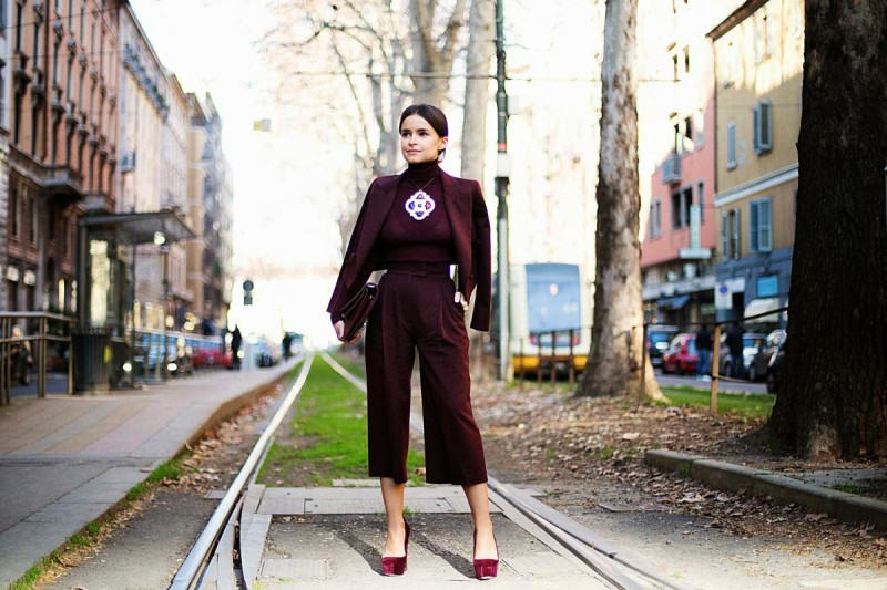 street style culottes burgundy