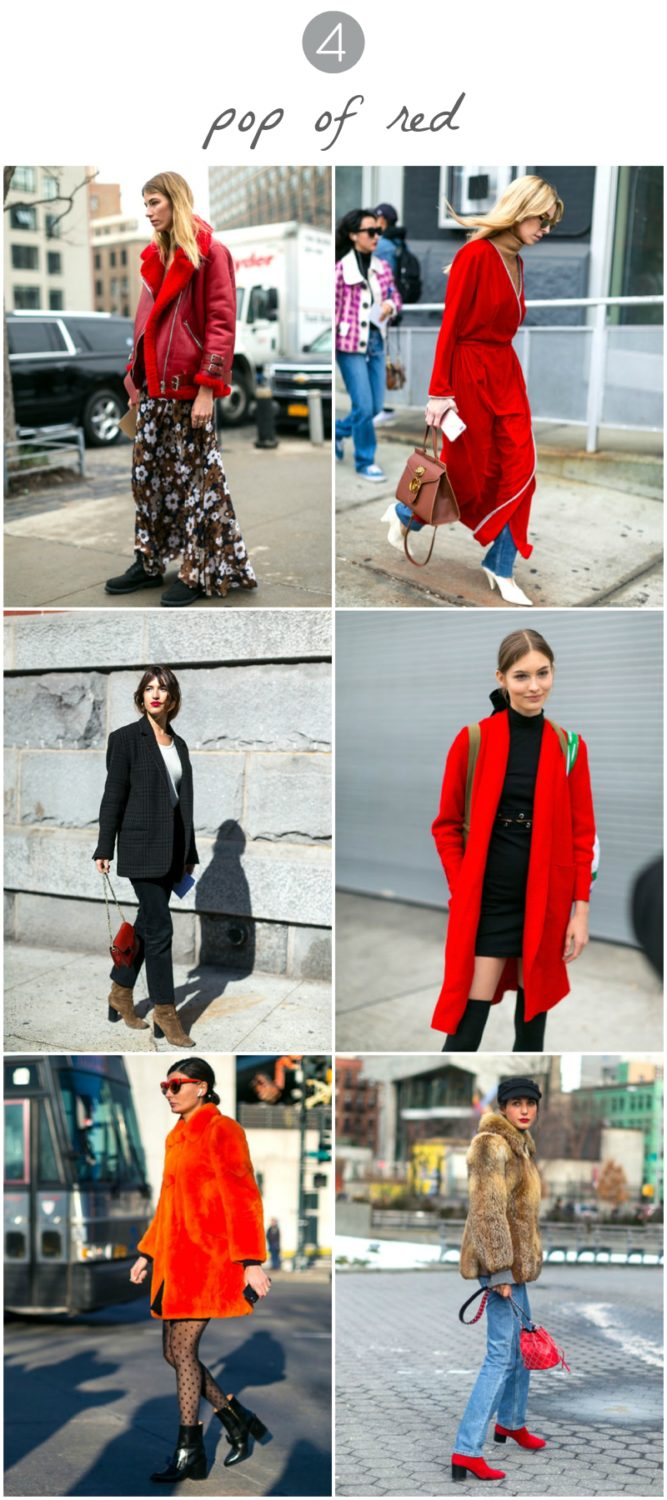 red jackets + red purses + red lipstick