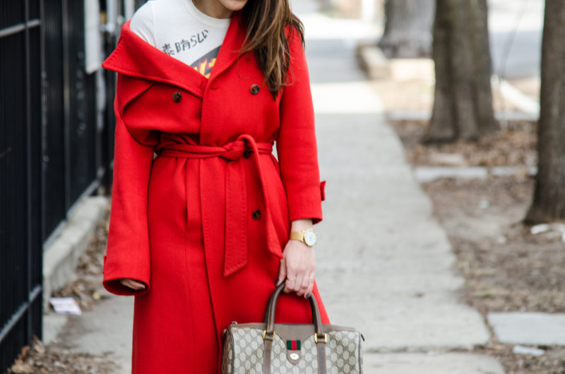 red overcoat outfit