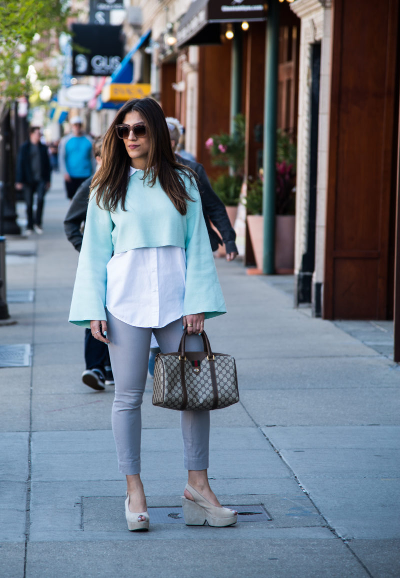 Cropped Sweater and oversized white blouse