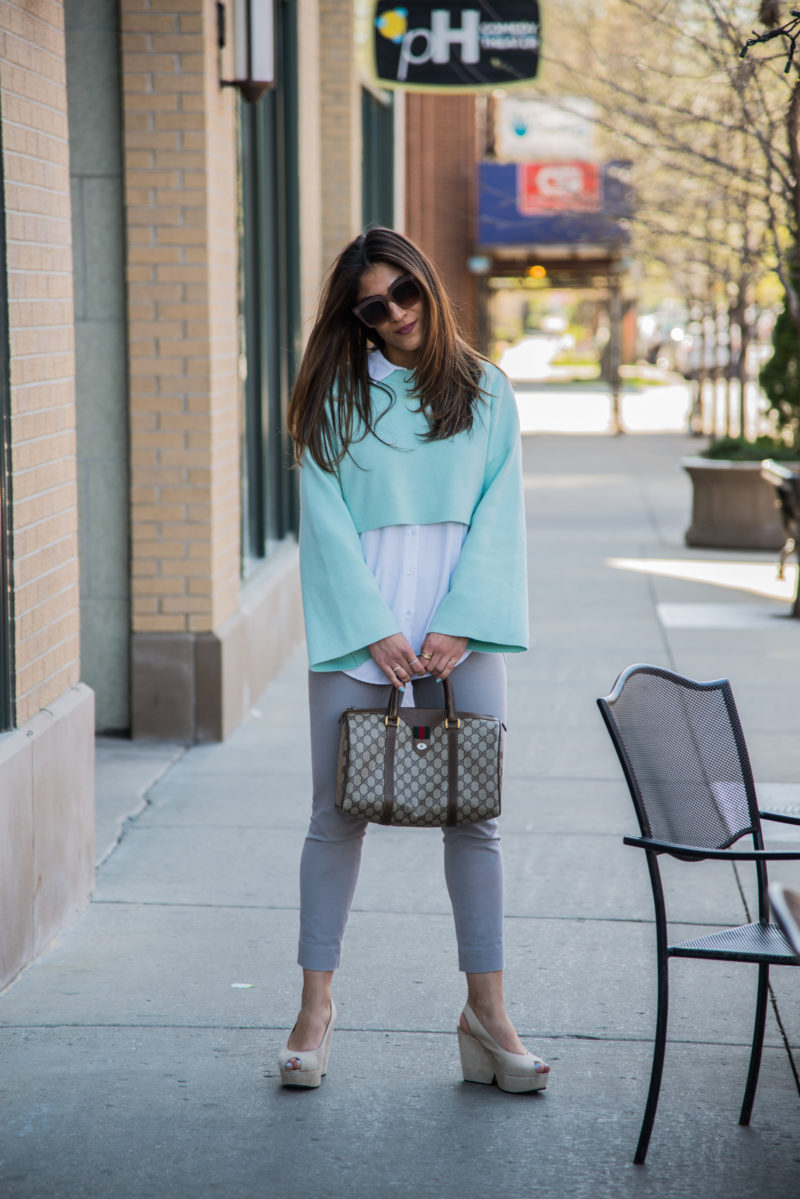 Cropped pants with oversized blouse