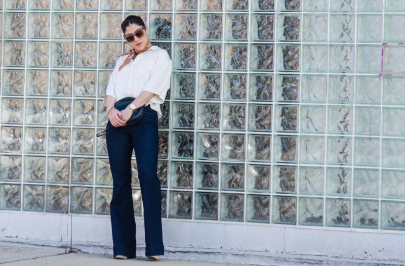 Oversized Silk Blouse & Flare Jeans