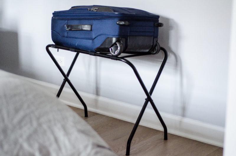 Luggage rack in guest bedroom
