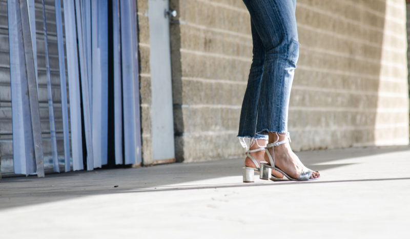 silver metallic block heel