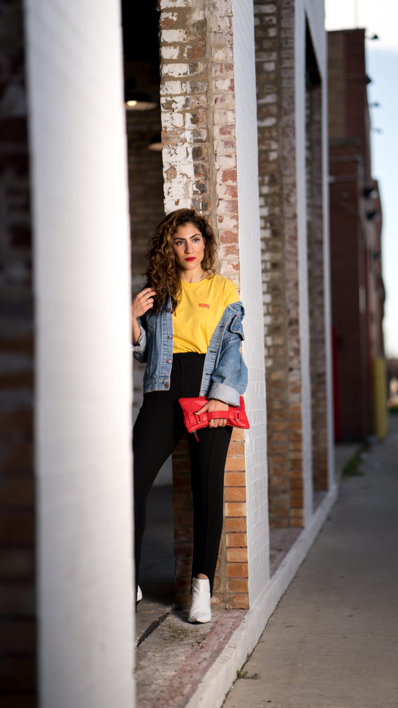 graphic tee with jean jacket